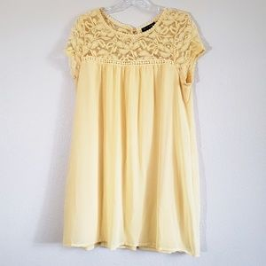 Babydoll dress with lace shoulders